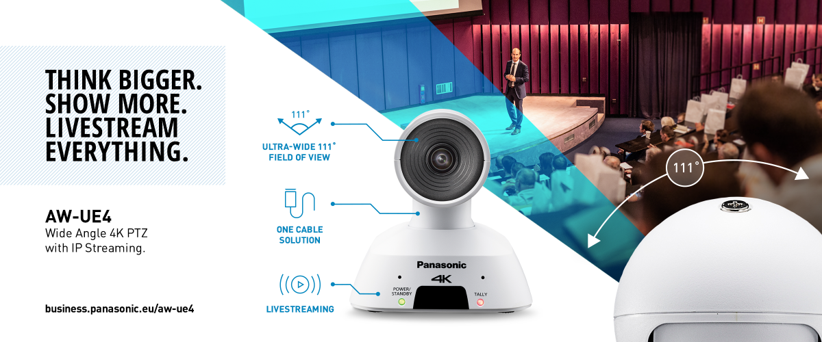 AW-UE4 Wide Angle 4K PTZ Camera with IP Streaming - Livestream Eveything.